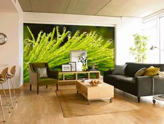 Rotating Nature Murals in a Living Room