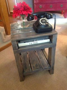 Rustic end table plans wood pallet furniture, wood pallets, piano, pianos, wooden Home Decor Items, Pallet End Tables, Wood End Tables, Diy End Tables, Wood Pallets, Wood Diy, Wooden Pallet Furniture, Furniture Projects, Rustic End Tables