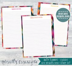 HAPPY PLANNER PRINTABLE Bible Study Planner Pages / Inserts - 7 x 9.25   Geo Brights   Create 365   Me & My Big Ideas   Sermon Notes  Prayer by AdorablyOrganized on Etsy