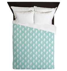 Mint Green Seahorses Queen Duvet #homedecor #interiordesign #nautical #bedding