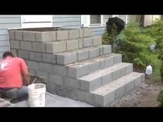 Concrete Front Steps, Cement Steps, Concrete Stairs, Outdoor Fireplace Patio, Patio Stairs, Stone Porches, Cinder Block Walls, Building Stairs, Outdoor Steps