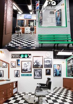 """For the Fellas. A peek at """"GQ & Fellow Barber barbershop at the Barclays Center in Brooklyn, New York. Featuring white vintage photos and street signs to resemble that nostalgic barbershop we remember from the '80s."""""""