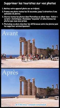 Prenez plusieurs photos et utilisez photoshop pour supprimer les touristes de vos photos.