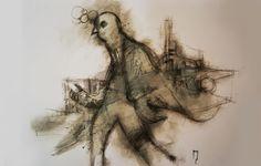 """ambasciatore"" - Michele Petrelli -  acrylic and oil on wood ballasted 42x29x6cm - 2011"