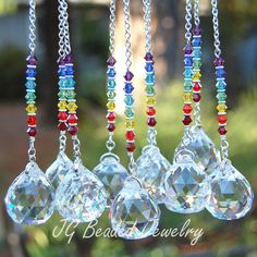 Rainbow Crystal Rearview Mirror Car Charm or Window Decoration #suncatchers #prism #crystal