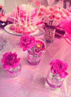 Omg we will have this!!!!! Decor - glittered baby food jars(could do with double-sided tape!), fresh flowers(carnations are so cheap but frilly like tutus!!!) Hmm now how am I gonna eat all that baby food...