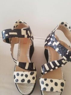 REED KRAKOFF New Python Leather White / Black Wedge Sandals Size IT 39 / US 8.5 #heels (ebay link) Black Wedge Sandals, Black Wedges, Wedge Heels, High Heels, Leather Heels, Black Leather, Reed Krakoff, Back Strap, Python
