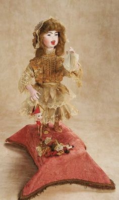 "De Kleine Wereld Museum of Lier: 150 Automaton ""Little Girl Crying for Her Broken Polichinelle"" by Lambert"