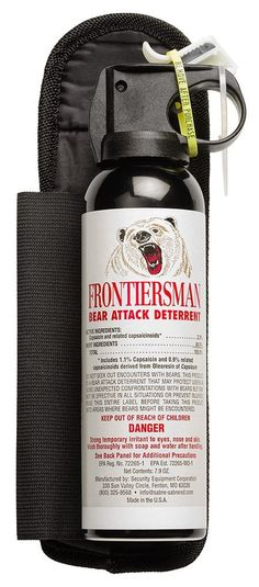 The FRONTIERSMAN is the best animal attack deterrent on the market. Designed for bear attacks, the FRONTIERSMAN provides a 30 foot range, glow-in-the-dark safety, heavy fog delivery and for maximum strength. Survival Equipment, Survival Tools, Camping Gear, Camping Hacks, Backpacking List, Backpack Camping, Camping List, Camping Stuff, Outdoor Survival