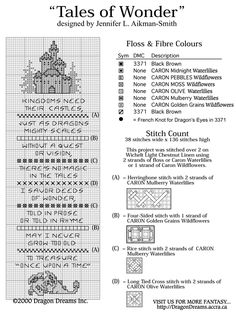 Tales of Wonder fantasy bookmark pattern | The Caron Collection free cross stitch pattern
