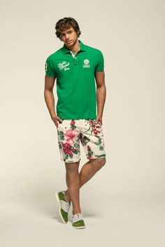 Go for a green polo and nude floral shorts for a Sunday lunch with friends. Feeling inventive? Complement your outfit with olive suede oxford shoes. Shop this look on Lookastic: https://lookastic.com/men/looks/green-polo-beige-floral-shorts-olive-suede-oxford-shoes/11820 — Green Polo — Beige Floral Shorts — Olive Suede Oxford Shoes