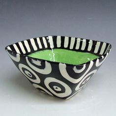 Funky green, black and white serving bowl