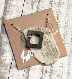 Wood Square Porcelain Pendant Necklace - Handmade Jewelry from Kentucky Barn Wood - Ceramics & Pottery - Modern, Rustic, Southern, Chic by MADEKY on Etsy