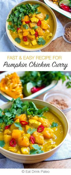 The Easiest Pumpkin Chicken Curry You'll Ever Make   http://eatdrinkpaleo.com.au/fast-easy-pumpkin-chicken-curry-recipe/