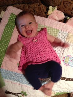 """Ravelry: dancingnut's Baby dress #3 - for the pattern click on """"angel wings pinafore"""" and it will take you to the site with the actual pattern."""