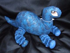 Yo Yo Dinosaur in blue tones with glittery gold plush by SursyShop, $30.00