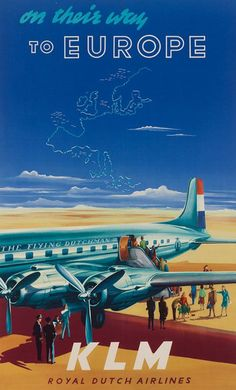 KLM Europe via Lockheed Super Constellation.  They have the ​square, not round, portholes.