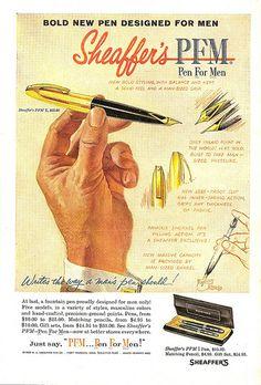 Sheaffer's Pen Vintage Ad - from 20 Truly Remarkable Retro and Vintage Advertisements Vintage Pens, Retro Vintage, Retro Ads, Vintage Advertisements, Plumas Sheaffer, Sheaffer Fountain Pen, Pen Shop, Fine Pens, New Pen