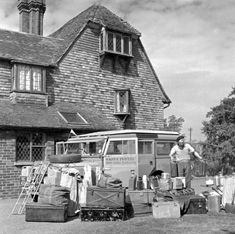 George preparing the Land Rover for the Trans-Sahara Expedition, Kent, UK 1957
