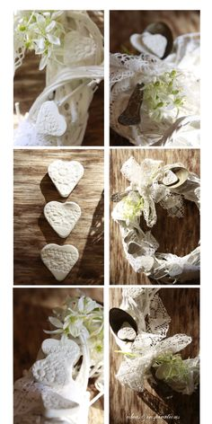 Ein kleiner Kranz zum morgigen Valentinstag.  Die Herzchen für diesen romantischen Kranz sind aus selbsttrocknender Modelliermasse entstanden.  Omas Häkeldeckchen hinterließ die schöne Musterung darauf. Der Kranz war ursprünglich aus Weidenästen und wurde von mir geweißelt.
