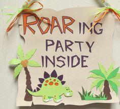 Dinosaur Birthday Welcome Sign Dinosaur by FallingStarParty