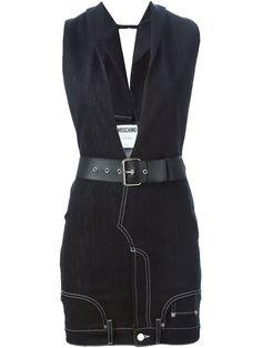 Moschino Plunge Neck Denim Dress - Stefania Mode - Farfetch.com