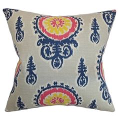 "Intricate ikat print pattern decorates this gorgeous throw pillow. This accent pillow is a striking statement piece with its blue, yellow and pink and grey color palette. Stylize your living room, bedroom or kitchen with this decor pillow for a stylish vibe. This 18"" pillow brings comfort with its plush and down-filled materials. Made from 100% soft cotton fabric. $55.00  #homedecor  #tosspillow  #ikat #pillows"