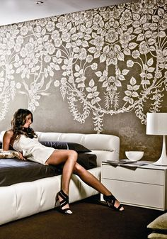 Photos To Wallpaper floral fireworks allover wall stencil | flower stencils, the