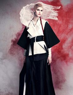 Christian Arp styles Vanessa Moody photographed by Iango Henzi and Luigi Murenu for Vogue Germany April 2015