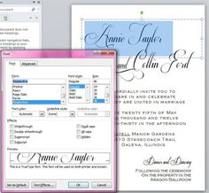 Create professional looking and elegant calligraphy invitations using just Word - step by step instructions in post!