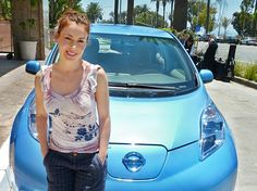 Alyssa Milano + Nissan Leaf. Only actual photo and not a stock composite. (ME is awesome is closest pinboard)