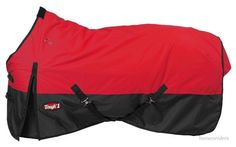 """Winter Horse Turnout Blanket - 600D - Waterproof - RED - Sizes 51""""to 66"""" #Tough1 #WinterTurnoutBlanket"""