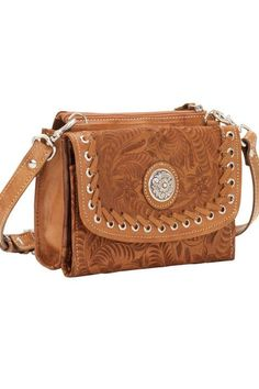 American West Texas Two Step Golden Tan Small Crossbody Bag/Wallet
