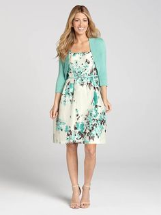 "Laura Petites: for women 5' 4"" and under. Feel feminine and sweet in this turquoise floral print shantung dress. A waist belt delicately flatters the figure and a matching bolero pulls the look together. Nothing will say Spring quite like t...4010101-8601"