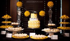 Love the yellow inspiration with hints of black. Dessert table by Sweet Heather Anne