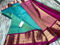 Kerala Saree Blouse Designs, Wedding Saree Blouse Designs, Half Saree Designs, Saree Blouse Neck Designs, Saree Blouse Patterns, Indian Bridal Sarees, Wedding Silk Saree, Indian Silk Sarees, Pure Silk Sarees