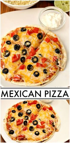 Copycat Mexican Pizza made with ground turkey and refried black beans! Ww Recipes, Italian Recipes, Mexican Food Recipes, Crockpot Recipes, Dinner Recipes, Cooking Recipes, Healthy Recipes, Filipino Recipes, Copycat Recipes