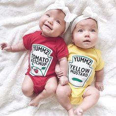 Baby Gift Combo - Ketchup Mustard Baby Onesie - Baby Shower Gift Set