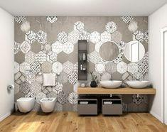 Il lato del bagno con le cementine esagonali: bagno in stile di fratelli pellizzari spa Modern Bathroom Tile, Bathroom Tile Designs, Bathroom Design Small, Bathroom Interior Design, Bad Inspiration, Bathroom Inspiration, New Homes, Home Decor, Visual Display