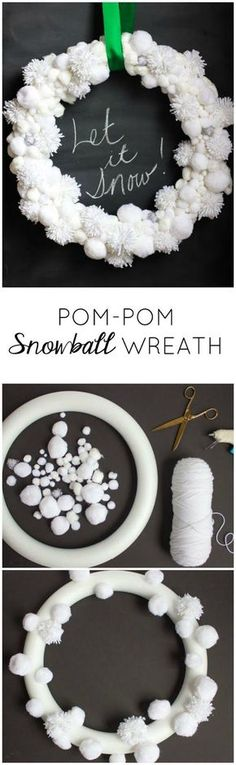 Make a Pom-Pom Snowball Wreath! – Design Improvised Make a Pom-Pom Snowball Wreath! – Design Improvised,Kränze Weihnachten und Winter Make this pretty Christmas snowball wreath from white pom-poms! Christmas Art, Winter Christmas, All Things Christmas, Christmas Wreaths, Christmas Ornaments, Crochet Christmas Wreath, Winter Wreaths, Pom Pom Wreath, Diy Wreath