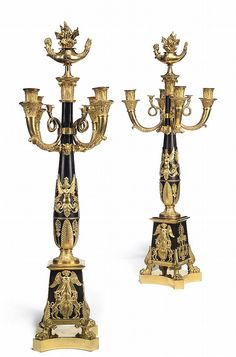 A PAIR OF RUSSIAN ORMOLU AND PATINATED BRONZE FOUR-BRANCH CA