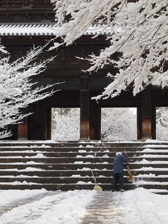 Chief priest shoveling snow for visitors. Taken at Nanzen-ji(南禅寺). Kyoto