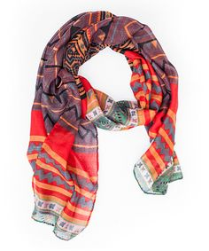 Loving this Stella & Brooklyn Orange & Purple Oversize Geometric Shawl on #zulily! #zulilyfinds