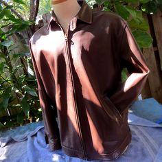 Mens Polo Ralph Lauren Brown Italian Leather Full Zip Biker Racer Jacket Sz M #PoloRalphLauren #Motorcycle