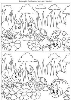 Game of differences, insects - Animal Lovers Activity Sheets For Kids, Mazes For Kids, Preschool Worksheets, Preschool Crafts, Colouring Pages, Coloring Books, Find The Difference Pictures, Hidden Pictures, Kids And Parenting