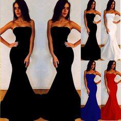 Celeb Strapless Dress Sleeveless Party Prom Evening Cocktail Long Maxi Dresses #Unbranded #Maxi #Cocktail