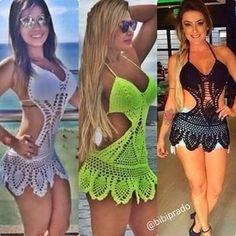 Saída de Praia com bojo modelo body Crochê Verão 2016. Tamanho: Único.