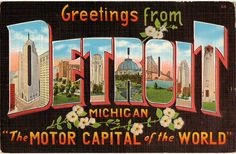 Linen Postcard Greetings from Detroit Michigan by lotsofpostcards