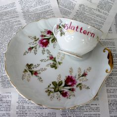 Rose Slattern teacup and saucer Serve-A-Snack set. $17.50, via Etsy.