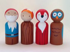 The Forest Collection  Gnome Mushroom Fox and Owl by PeggedByGrace, $28.00